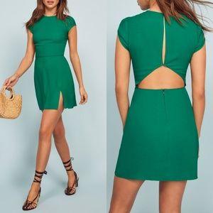 NWT Reformation Lena Sheath Dress Green Serpentine